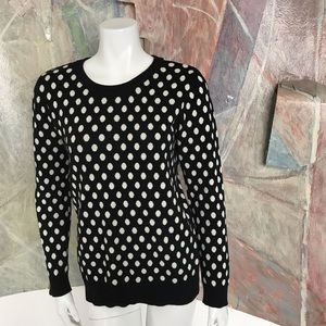 41 Hawthorn Black White Polkadot Sweater SZ Medium